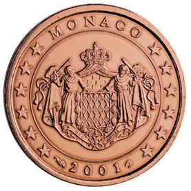 euros Monaco 1ct 2 cts 5 cts